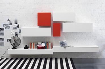 Meube Composable, Laqué Mat Blanc Et Rouge Conception Impressionnante