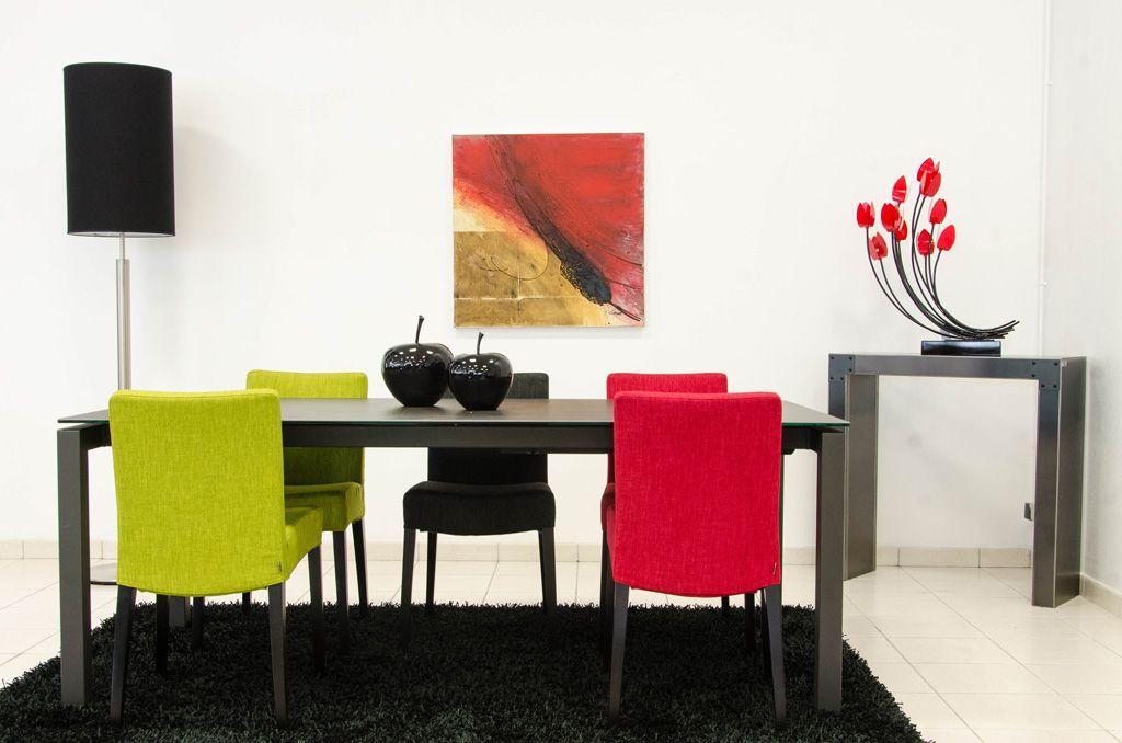 charmant Table céramique, chaises tissu déhoussable, console métal